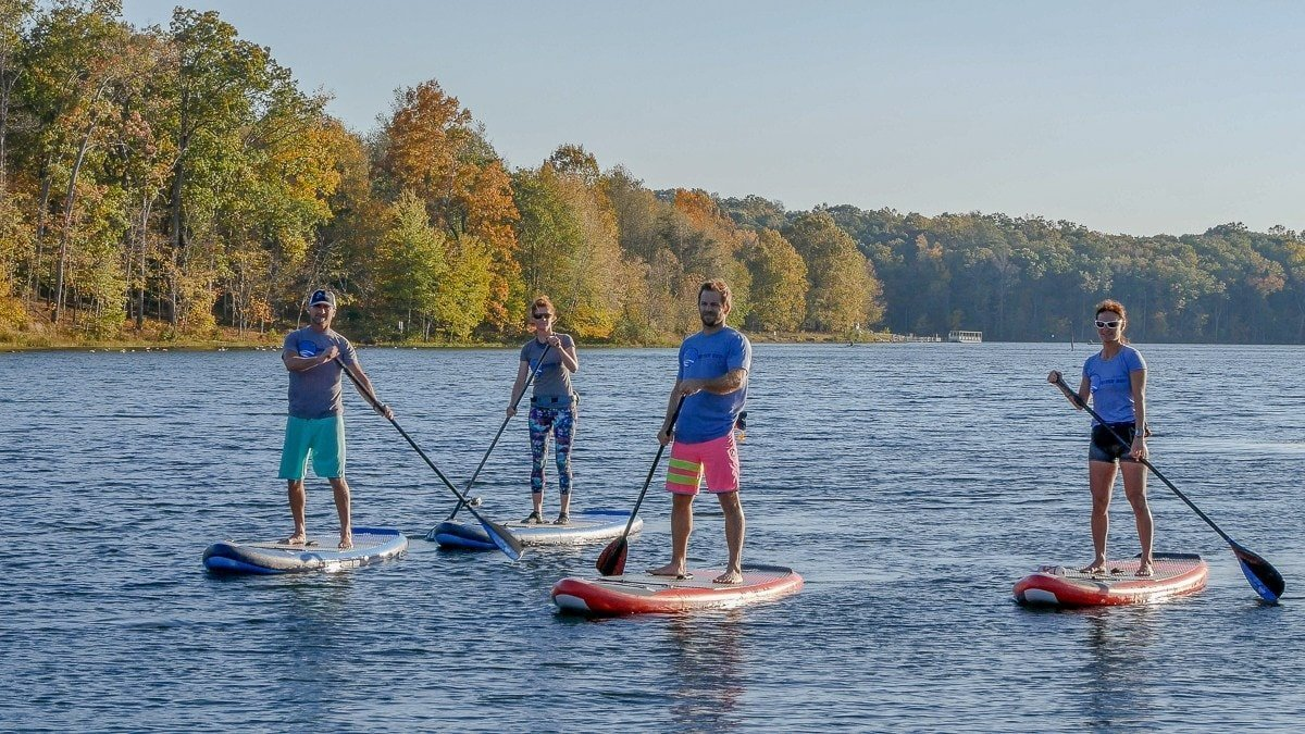 ERS SUP boards paddling on the lake in a group