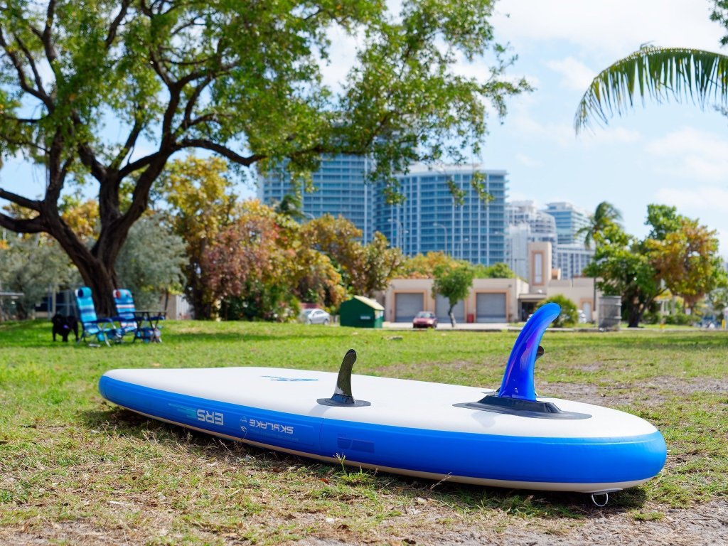 ERS Skylake blue paddle board near surf shop