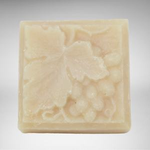 square bar of natural vegan chardonnay soap with grapes and leaf design