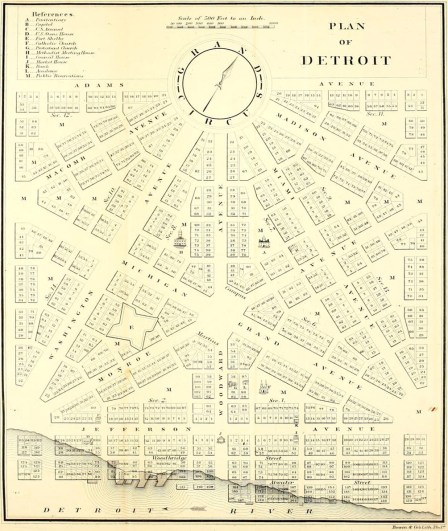 Augustus Woodward's plan following the 1805 fire for Detroit's baroque styled radial avenues and Grand Circus