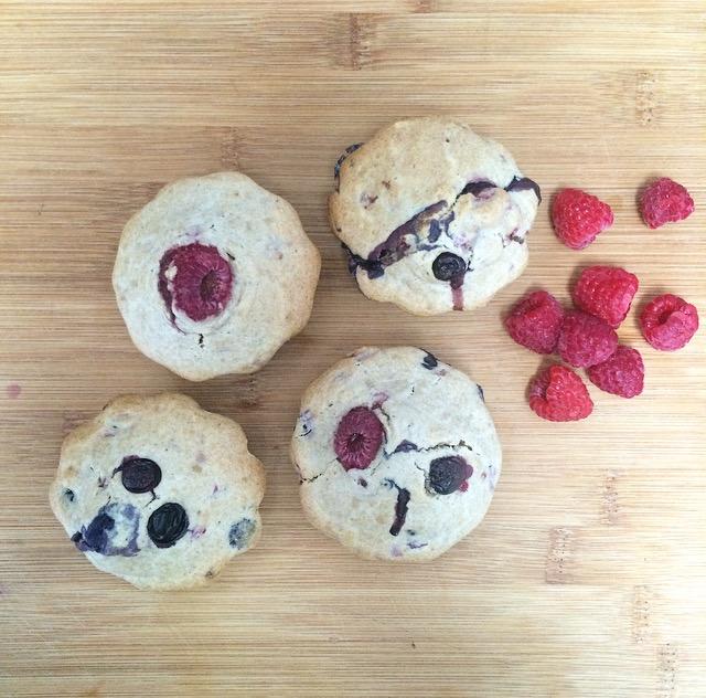 Vegan, Whole wheat Blueberry & Raspberry Muffins