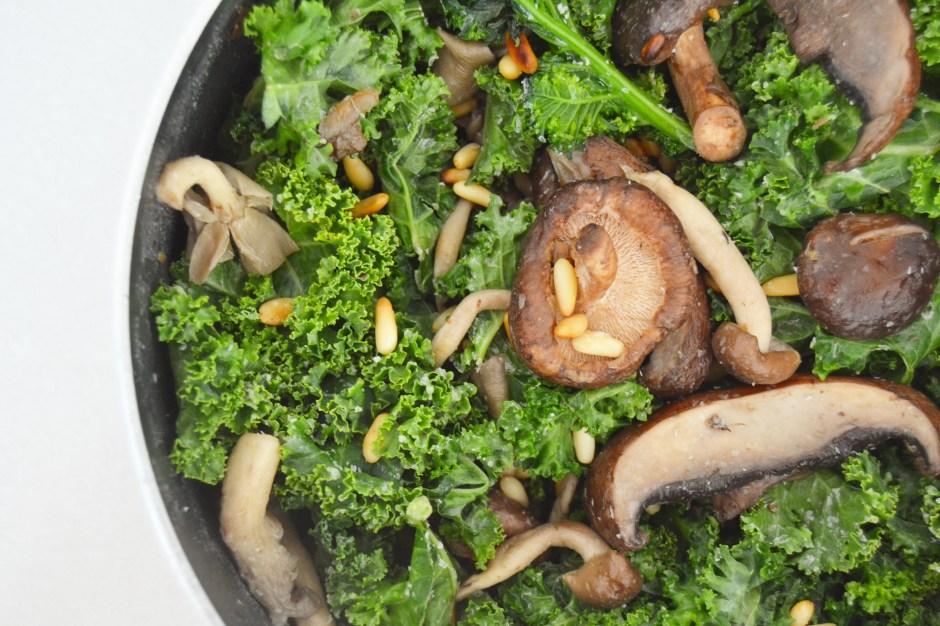 Warm Wild Mushroom & Kale Salad (with garlic oil – yum)