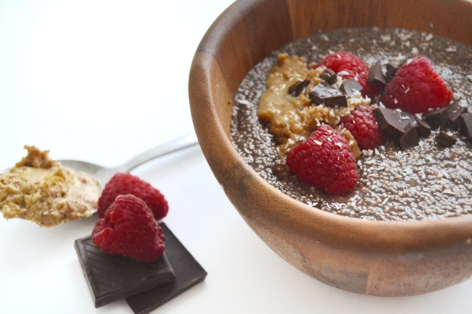 Vegan Chocolate, Raspberry & Peanut Butter Breakfast Pudding: TO DIE FOR.