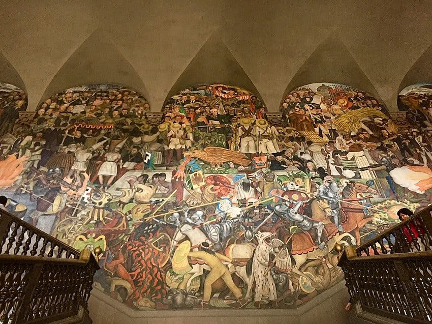 mexico city travel guide: diego rivera mural at the national palace