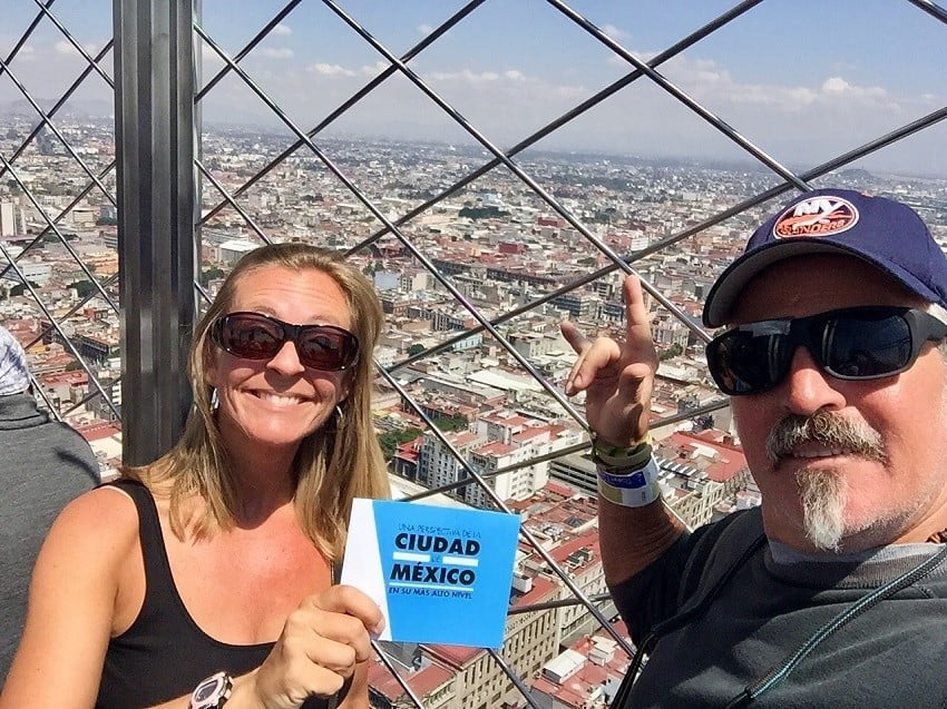 mexico city travel guide: us on top of latinoamerica building