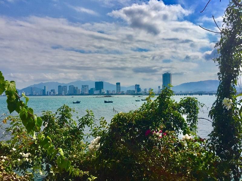 View of Nha Trang, Vietnam, a seaside city where expats visit.