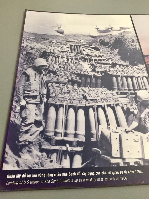 Photo of U.S. Marines at Khe Sahn in 1966, as shown in the Vietnamese museum at the site.