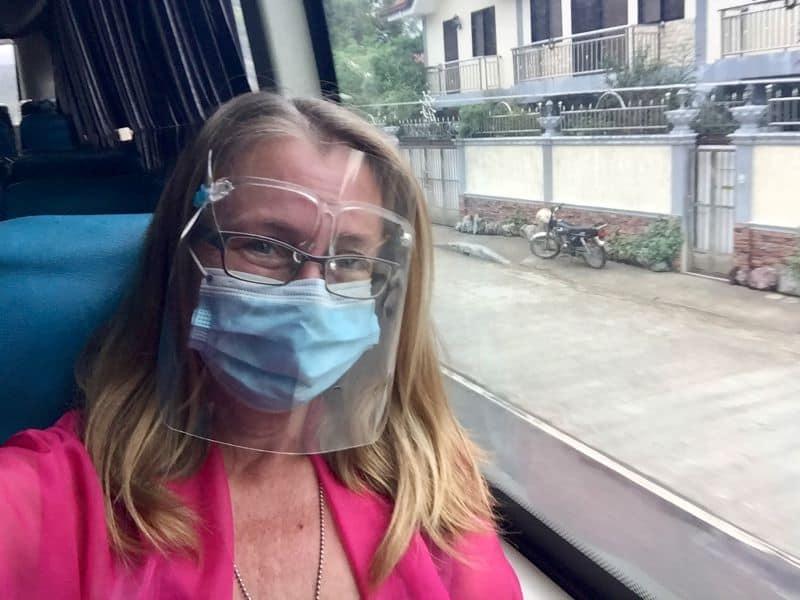 Ellen on a bus to Kalibo, Aklan, Philippines.