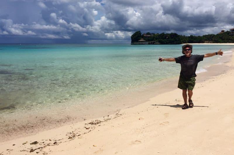 Theo on Punta Bunga Beach in front of the deserted Shangri La resort in September 2020.