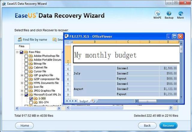 phục hồi các tập tin Excel bị mất