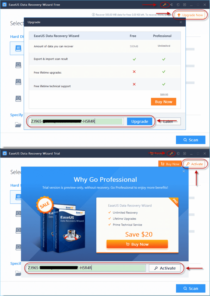 Activate EaseUS Data Recovery Wizard with license code.
