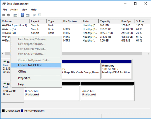 Convert MBR to GPT in Disk Management