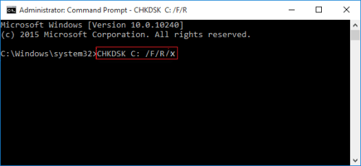 Check and fix hard disk error with CHKDSK command.