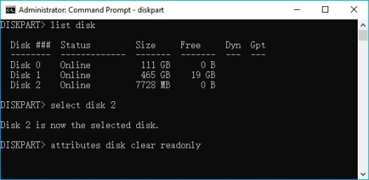 Clear readonly write protection from USB