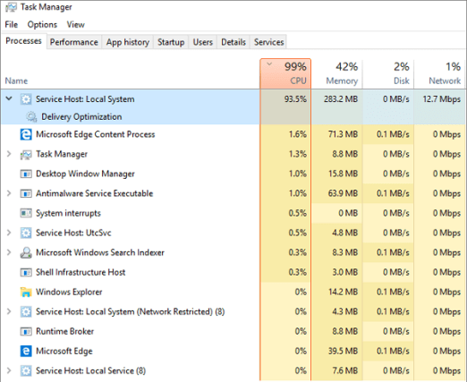 service host local system high disk usage, cpu usage and memory usage