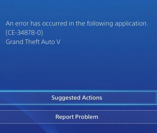 Error Code Ce 34878 0 On Playstation 4