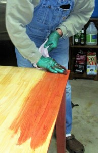 Stain application