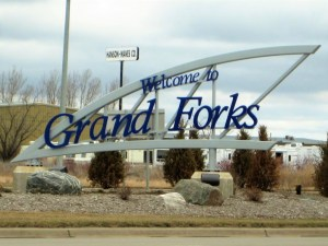 Grand Forks Welcome sign