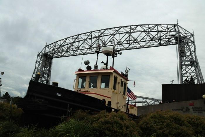 Aerial Lift Bridge raised for ship