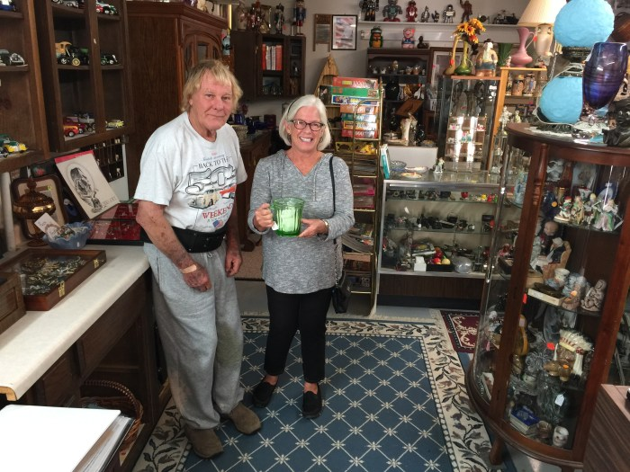 Helen and Vaseline glass with Mr. Albertson, owner