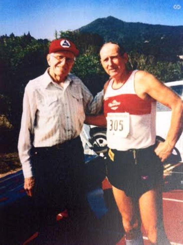 Alameda Journal columnist Joe King, right, poses with friend Louis Zamperini at the Pacific Sun 10 kilometer run Sept. 7, 1998 in Marin County. (Courtesy of Joe King)