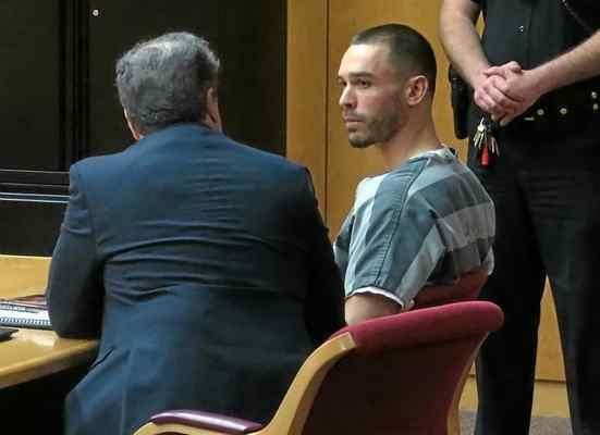 At right, Robert James Vega, 30, of Fairfield, seen in this file photo, accused of murdering Richmond Police Officer Augustine Gus Vegas and kidnapping Vegas 6-year-old grandson, pleaded not guilty in court Wednesday. (The Reporter file photo)