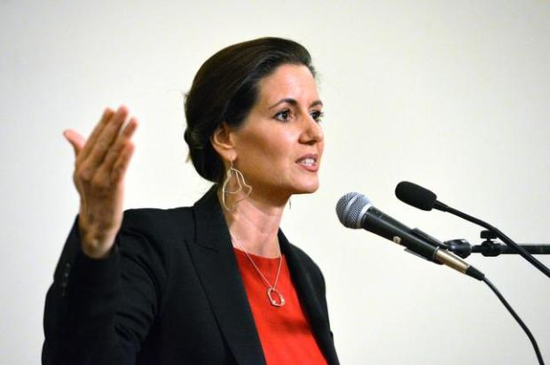 Oakland Mayor Libby Schaaf, talks during a press conference held to announce the resignation of Paul Figueroa, who was named acting chief two days ago, at Oakland City Hall in Oakland, Calif., on Friday, June 17, 2016. Figueroa will be replaced temporarily by City Administrator Sabrina Landreth, Mayor Libby Schaaf announced. The latest shake-up comes amid the department's growing sexual-misconduct scandal involving several officers. Schaaf also talked about the investigation into racist text messages by officers. (Doug Duran/Bay Area News Group)
