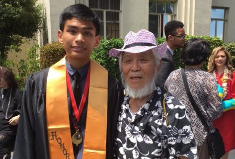 Hercules resident Jason Cordis, 17, is being honored at the White House for his three-minute film profiling Takashi Tanemori, a Berkeley resident and survivor of the Hiroshima atomic bombing. The two are shown together at Jason's graduation from Salesian High School.