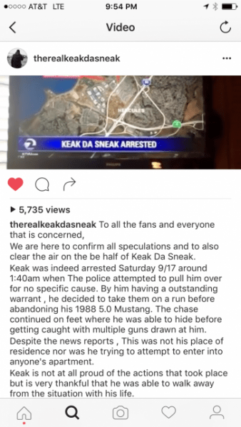 A screenshot of an statement made on behalf of East Bay rapper Keak Da Sneak on social media. (Instagram)