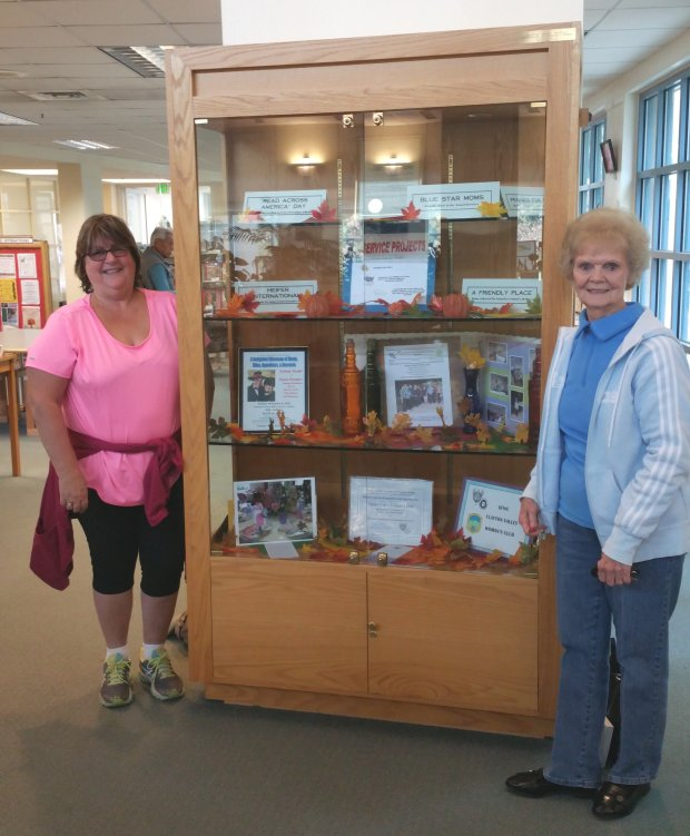 The history of the Clayton Valley Woman's Club is presented this month at the Clayton Community Library, thanks to CVWC membership chairman and display coordinator, Michele Pryor, left, and president Connie Weimar. For more information about the club, visit www.claytonvalleywomansclub.org.