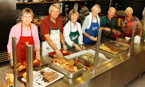 St. Vincent de Paul volunteers, from left, Bridget Teranen, Jim Noe, Anne Sarazen, Anne Louise Van Hoomissen, Tom Judson and Mary Ellen Judson often work together at the SVdP Dining Room, serving hungry neighbors. Noe will be honored with a Lifetime Achievement award at the East Bay Leadership Council's Philanthropy Awards on Nov. 3, for his many collaborations with local organizations helping our needy neighbors, including SVdP, Shelter, Inc., Loaves & Fishes, and Rotocare Free Medical Clinic.