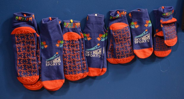 A display of special jump socks being sold at Sky High Sports in Concord through October to benefit Autism Awareness. (Dan Honda/Bay Area News Group)