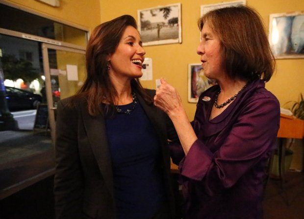 State Senate District 9 Democratic candidate, Nancy Skinner, right, talks with Oakland Mayor Libby Schaaf, left, during an election night party on Tuesday, Nov. 8, in Oakland, Calif. (Aric Crabb/Bay Area News Group)