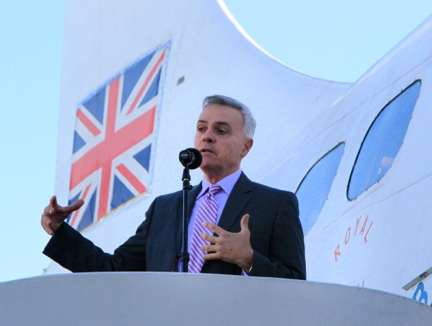 Michael Colbruno, president of the board of commissioners for the Port of Oakland, speaks during a press conference at the Oakland Aviation Museum in Oakland, Calif., on Tuesday, Nov. 1, 2016. British Airways is launching a new service from Oakland International Airport to Gatwick Airport in London, England starting in March 2017. (Laura A. Oda/Bay Area News Group)