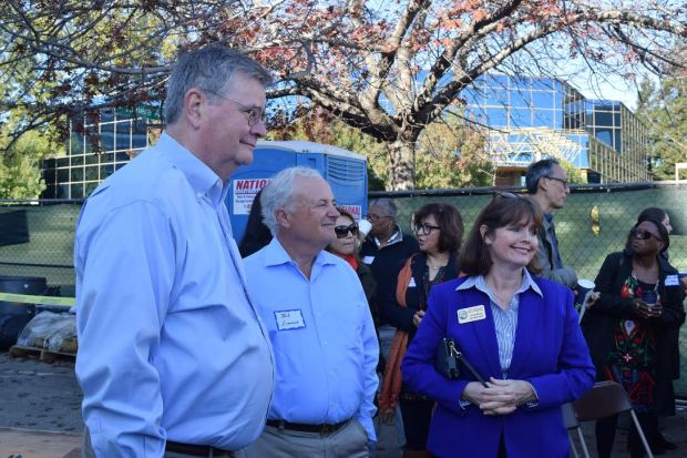 From left, Walnut Creek City Council members Rich Carlston and Bob Simmons, and County Supervisor Candace Andersen, at Nov. 4's groundbreakling for the Riviera Family Apartments.