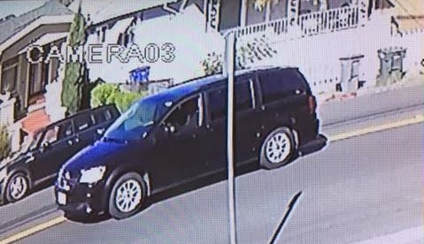 San Leandro police released this surveillance photo of a black, 2015 Dodge Caravan involved in a shooting and injury collision on Dowling Boulevard on Nov. 17. (San Leandro Police Department)