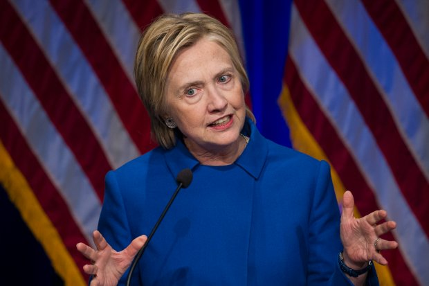 FILE - In this Nov. 16, 2016 file photo, Hillary Clinton speaks in Washington. Clinton is blaming Russian interference for her defeat in the presidential race, casting her campaign as fodder in a long-running effort by Russian President Vladimir Putin to discredit the fundamental tenants of American government. (AP Photo/Cliff Owen, File)