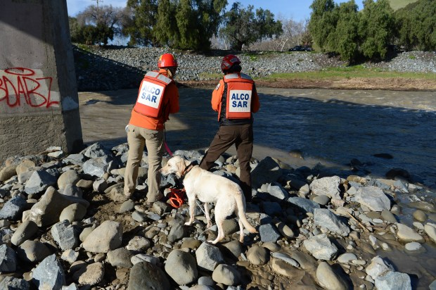 Karen Atkinson, left, of San Carlos, and Tauri Lamere, of Burbank, along with cadaver dog Amiga, search along a portion of Alameda Creek in Fremont, Calif., on Saturday, Jan. 28, 2017. A group of about 100 trained rescue workers searched for Jayda Jenkins, a Tracy woman who has been missing since her car veered off the road into Alameda Creek. (Dan Honda/Bay Area News Group)
