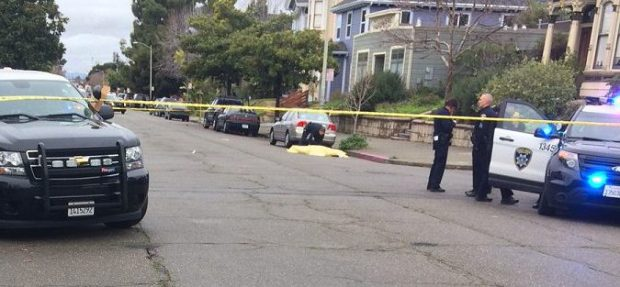 Police responded to gunfire and found a man fatally shot near 16th and Myrtle streets in West Oakland on Wednesday afternoon. (Harry Harris/East Bay Times)