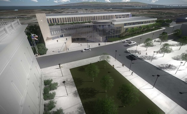 """One vision for the proposed new Contra Costa County administration building in downtown Martinez, which would replace the 12-story """"651 Pine"""" building by 2019."""