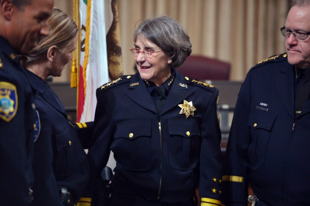 Oakland Police Department Chief of Police Anne Kirkpatrick meets with fellow law enforcement personnel following her swearing-in ceremony at City Hall in Oakland, Calif. on Monday, Feb. 27, 2017. (Kristopher Skinner/Bay Area News Group)
