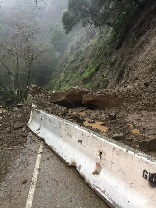Palomares Road north of Highway 84 could reopen to one-way traffic by Friday, as mudslide/rockslide work continues.