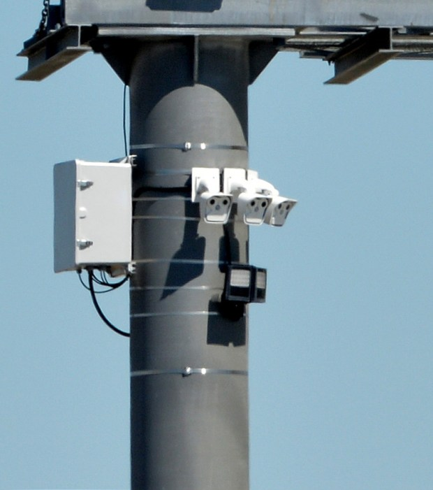 Video cameras installed to watch traffic on Highway 4 are photographed in Pittsburg, Calif., on Thursday, July 14, 2016. The cameras will begin working next week, following several shootings along Highway 4. (Doug Duran/Bay Area News Group)