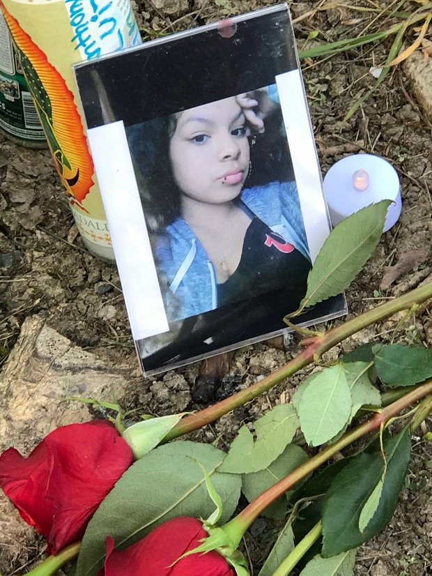 A shrine for Elena Mondragon at Knoll Park in Antioch on Thursday, March 16.