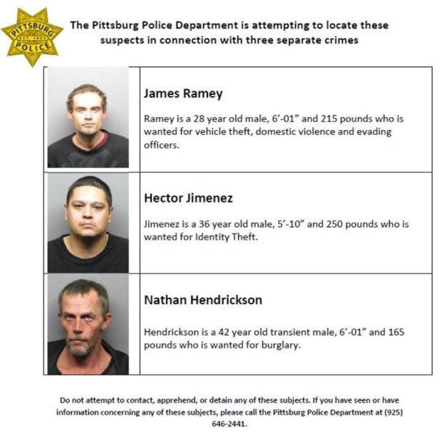 Pittsburg police put the mug shots of three suspects in separate crimes on the department's Facebook page.