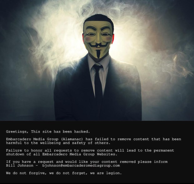 Hackers posted this message on the home pages of websites operated by the Embarcadero Media Group on Sept. 17, 2015
