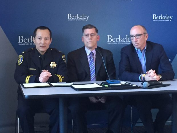 Interim Vice Chancellor for Student Affairs Stephen Sutton and UCBerkeley spokesman Dan Mogulof at a press conference Thursday at UC Berkeley.