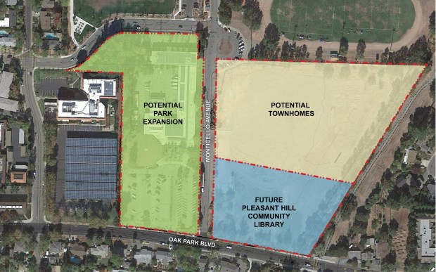 A new Pleasant Hill library will be built on 3 acres of the former Oak Park Elementary school property on Oak Park Boulevard. The Pleasant Hill Recreation and Park District plans to demolish the existing library and may use the nearly 5-acre site for ballfields.(Courtesy of Contra Costa County)