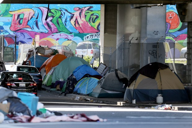 600 Block of Sycamore Street: A view of a homeless encampment in Oakland, California, on May 18, 2017. (Ray Chavez/Bay Area News Group)