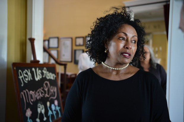 Menbere Aklilu discusses the reasons behind her hosting the families of victims of domestic and gun violence for a special Mother's Day brunch at her Salute e Vita Ristorante in Richmond, Calif. on Friday, May 12, 2017. (Kristopher Skinner/Bay Area News Group)